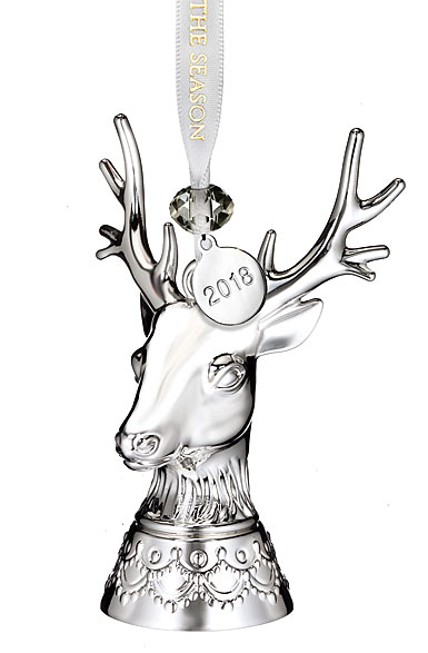 Waterford 2018 Silver Stag Christmas Ornament