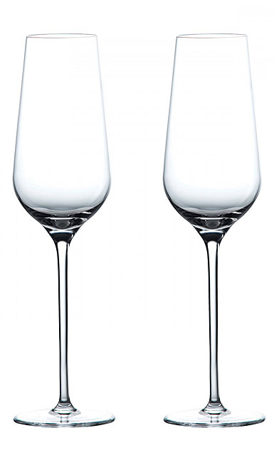 Wedgwood Crystal Globe Champagne Crystal Flute, Pair