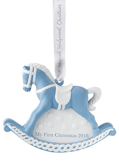 Wedgwood 2018 Baby's 1st Rocking Horse Blue Ornament