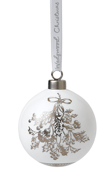Wedgwood Fine Bone China Holly Christmas Ornament