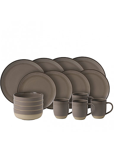 ED Ellen DeGeneres by Royal Doulton Taupe Brushed Glaze 16 Piece Set