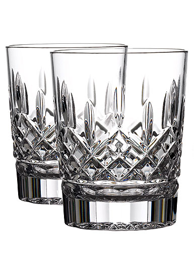 Waterford Crystal Lismore 12 oz Double Old Fashion DOF Tumbler Glasses, Pair