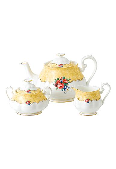 Royal Albert 100 Years 1990 Teapot, Sugar and Creamer Set Bouquet