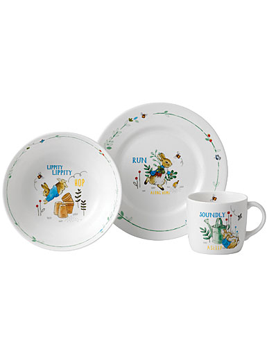 Wedgwood China Peter Rabbit Boy's 3-Piece Set, Plate, Bowl and Mug