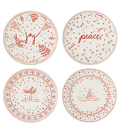 Royal Doulton, ED Ellen Degeneres Holiday China Accent Plate Set of Four