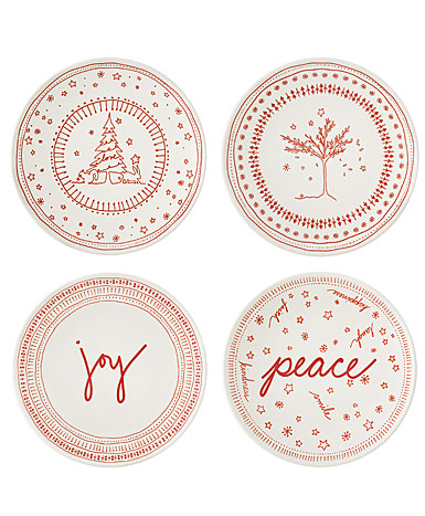 "ED Ellen DeGeneres By Royal Doulton Holiday Accent Plate 6"" Set of 4"