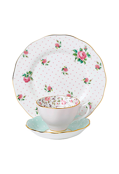 Royal Albert Vintage Mix 3-Piece Set, Teacup, Saucer and Plate Rose Confetti, Polka Rose and Cheeky Pink