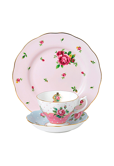Royal Albert Vintage Mix 3-Piece Set, Teacup, Saucer and Plate Cheeky Pink, Polka Blue and New Country Roses P