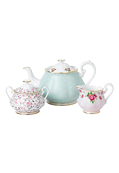 Royal Albert Vintage Mix 3-Piece Set, Teapot, Sugar and Creamer , Polka Rose, Rose Confetti and New Country Ro