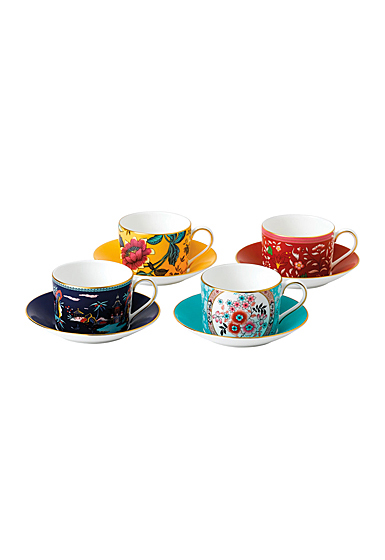Wedgwood China Wonderlust Teacup and Saucer Set of 4, Blue Pagoda, Camellia, Crimson Jewel and Yellow Tonquin