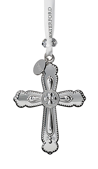 Waterford Crystal 2019 Silver Cross Christmas Ornament