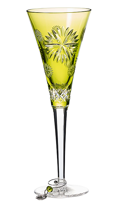 Waterford Crystal, 2019 Snowflake Wishes Prosperity Prestige Edition, Lime Crystal Flute Single