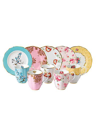 "Royal Albert 100 Years 1950-1990 10-Piece Festival Set, Mugs and 8"" Plates"