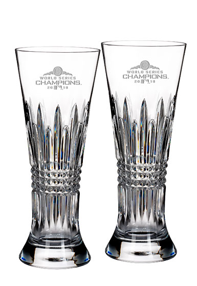 Waterford Crystal 2018 MLB World Series Boston Red Sox Lismore Diamond Pilsner, Pair