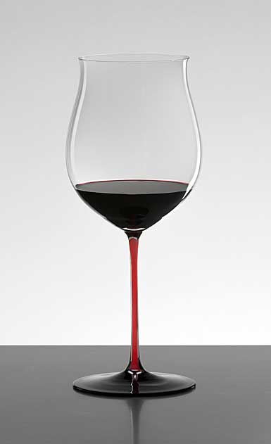 Riedel Sommeliers, Hand Made, Black Series Collector's Edition Red Stem Burgundy Grand Cru Crystal Wine Glass,
