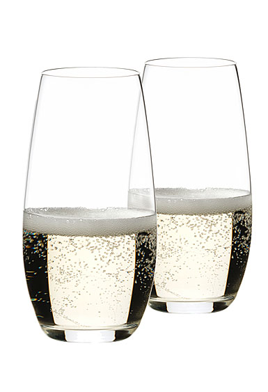 Riedel O Stemless, Champagne Crystal Glasses, Pair