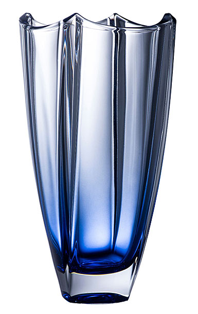 """Galway Crystal Dune Square 12"""" Sapphire Vase"""