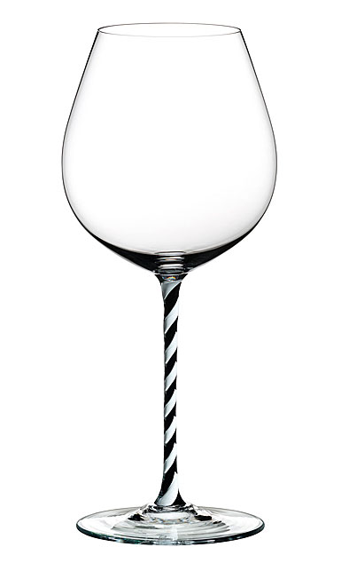 Riedel Fatto A Mano, Old World Pinot Noir, Black and White Twist Wine Glass