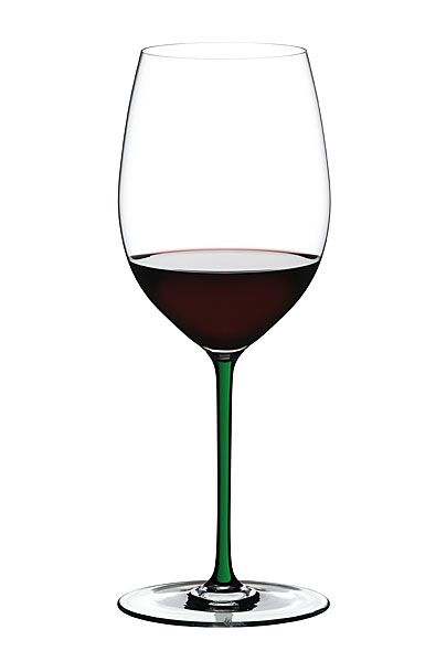 Riedel Fatto A Mano, Cabernet, Merlot Crystal Wine Glass, Green