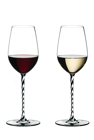 Riedel Fatto A Mano, Riesling, Chardonnay, Black and White Twist Crystal Wine Glass