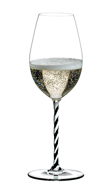 Riedel Fatto A Mano, Champagne Wine Glass, Black and White Twist Crystal Glass, Single