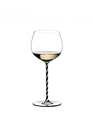Riedel Fatto A Mano, Oaked Chardonnay, Black and White Twist Crystal Wine Glass