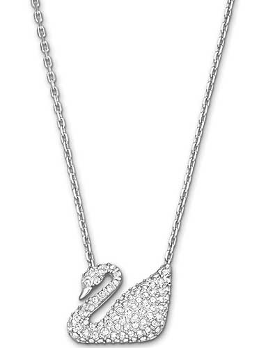 Swarovski Crystal and Rhodium Swan Pendant Necklace