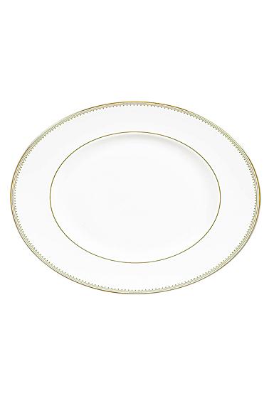 """Vera Wang Wedgwood Golden Grosgrain Oval Platter 13.75"""""""