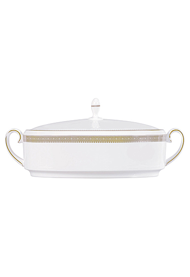Vera Wang Wedgwood Vera Lace Gold Covered Vegetable 1.5 Qt, 48oz.
