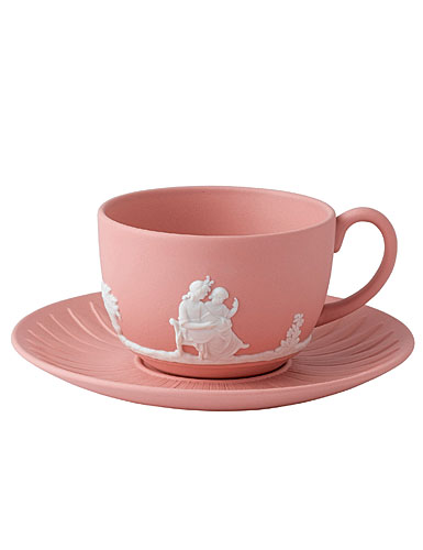 Wedgwood Jasper Classic Teacup & Saucer, White on Pink