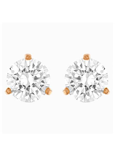 Swarovski Solitaire Pierced Earrings, White, Rose Gold