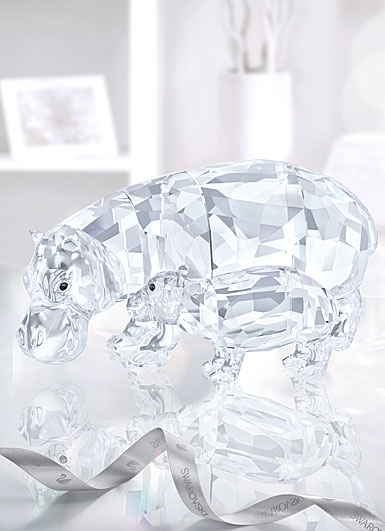 Swarovski Crystal, Hippo Mother With Baby