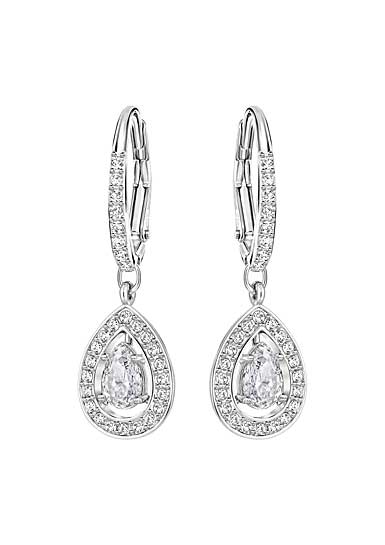 Swarovski Attract Light Crystal and Rhodium Pear Pierced Earrings
