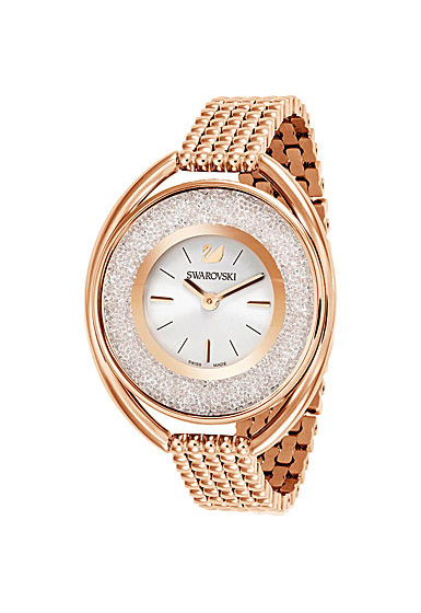 Swarovski Crystalline Oval Watch, Metal bracelet, White, Rose Gold