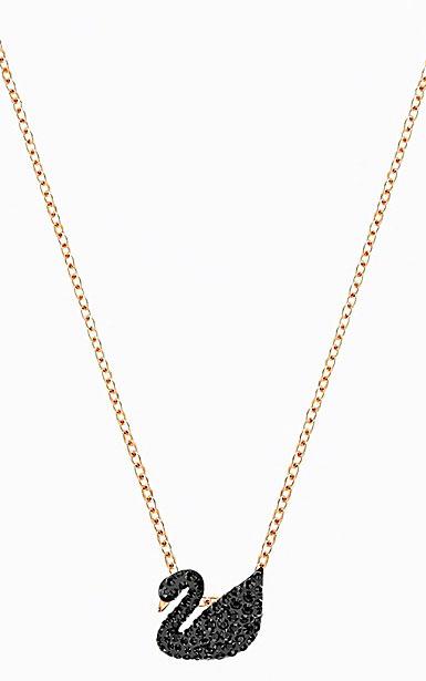 Swarovski Iconic Swan Pendant, Small, Black, Rose gold plating