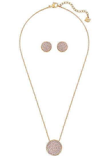 Swarovski Fun Pink Rose Gold Necklace And Pierced Earrings Jewelry Set Crystal Classics