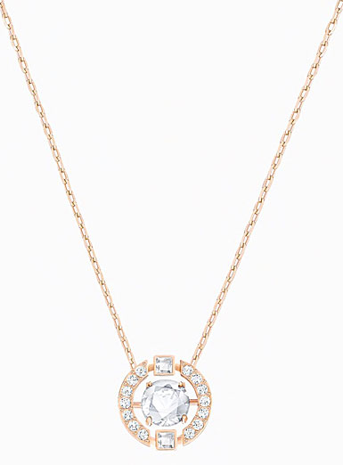 Swarovski Sparkling Dance Heart Necklace, White, Rose Gold