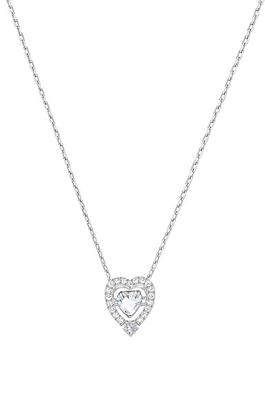 Swarovski Crystal and Rhodium Sparkling Dance Heart Pendant Necklace