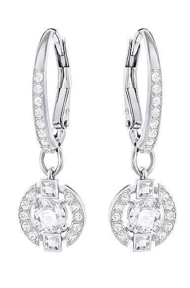 Swarovski Sparkling Dance Round Pierced Earrings, White, Rhodium