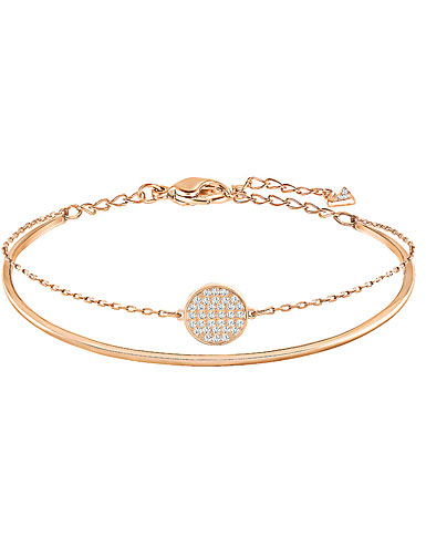 Swarovski Ginger Crystal and Rose Gold Bangle Bracelet