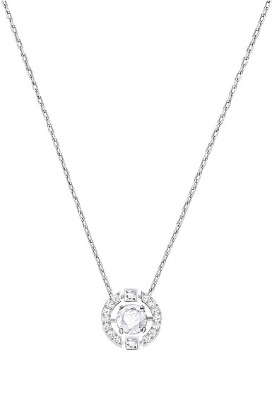 Swarovski Sparkling Dance Round Necklace, White, Rhodium