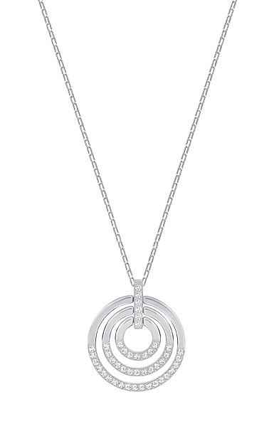 Swarovski Circle Pendant, White, Rhodium