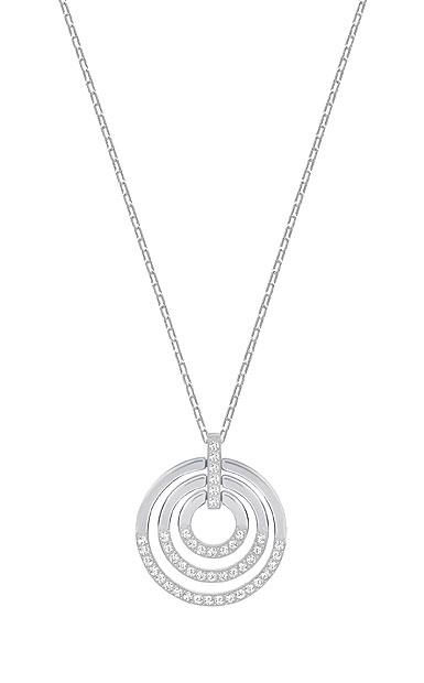 Swarovski Crystal and Rhodium Circle Pendant Necklace