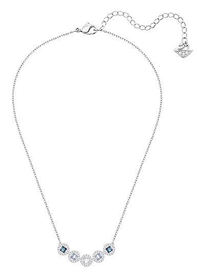 Swarovski Blue Crystal Rhodium Angelic Square Pendant Necklace