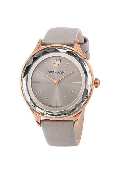 Swarovski Octea Nova Watch, Leather strap, Gray, Rose Gold