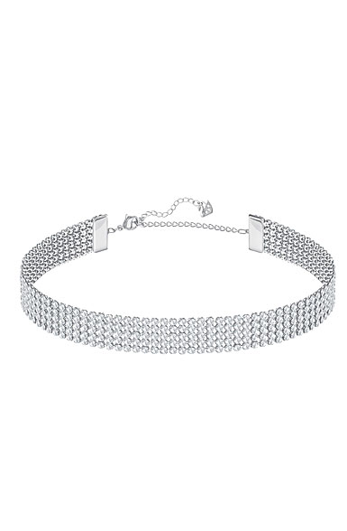 Swarovski Fit Choker Crystal Rhodium Pendant Necklace