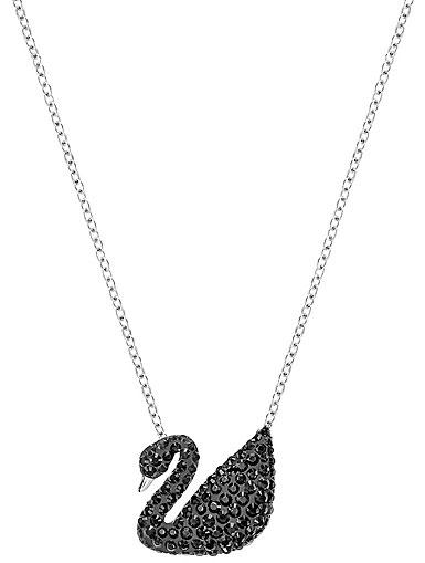 Swarovski Rhodium Iconic Jet Black Swan Pendant Necklace