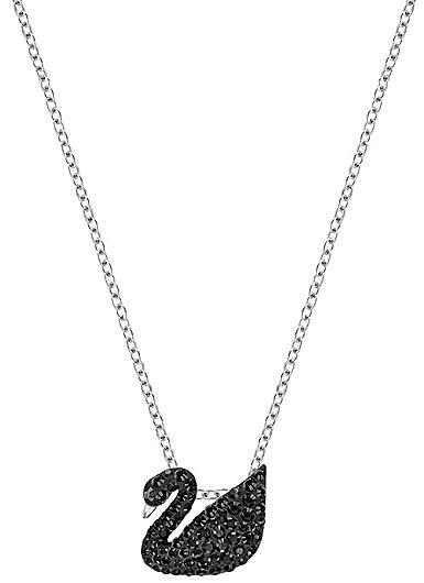 Swarovski Rhodium Iconic Jet Black Small Swan Pendant Necklace