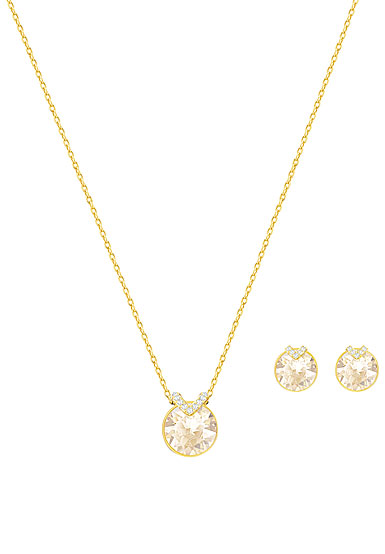Swarovski crystal and gold bella v necklace and pierced earrings swarovski crystal and gold bella v necklace and pierced earrings jewelry set aloadofball Image collections
