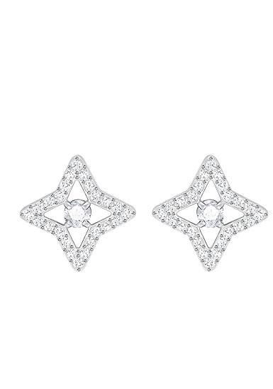 Swarovski Sparkling Dance Pierced Stud Star Crystal Rhodium Earrings, Pair